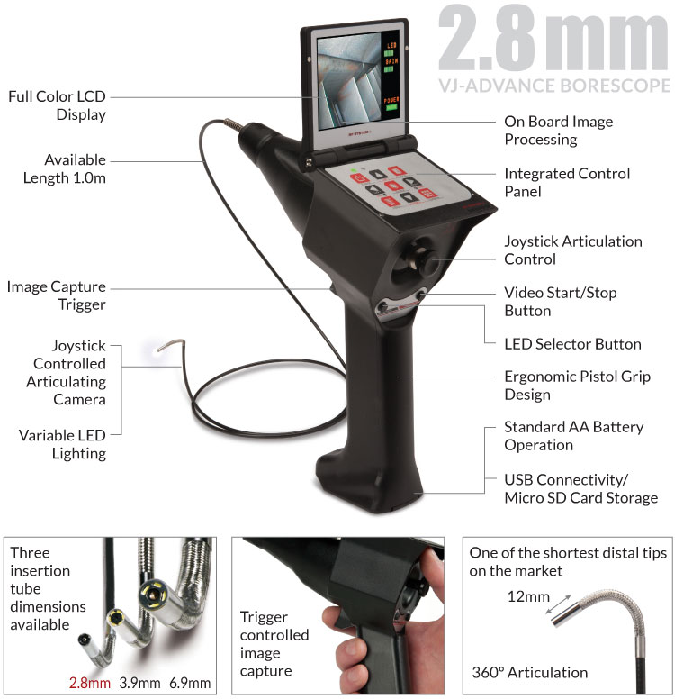 A diagram of the 2.8mm VJ-ADV video borescope