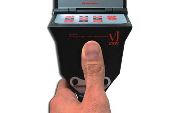 The VJ-ADV video borescope's joystick, which allows precise thumb control for full movement in all directions.