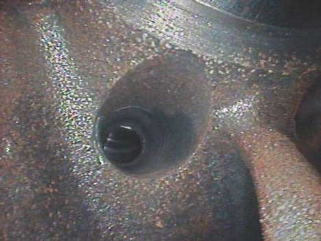 Image of a through-hole industrial pump taken by a VJ-Advance video borescope during an inspection.